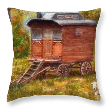 The Gypsy Caravan Throw Pillow
