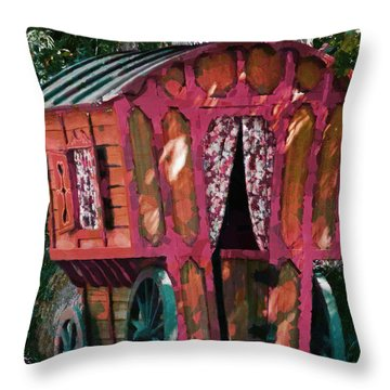 The Gypsy Caravan  Throw Pillow by Steve Taylor