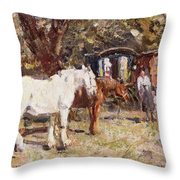 The Gypsy Encampment Throw Pillow by Harry Fidler