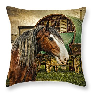 The Gypsy Vanner Throw Pillow by Brian Tarr