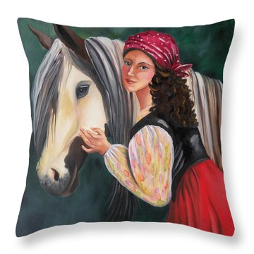 The Gypsy's Vanner Horse Throw Pillow