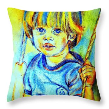 Throw Pillow featuring the drawing The Hammock by Helena Wierzbicki