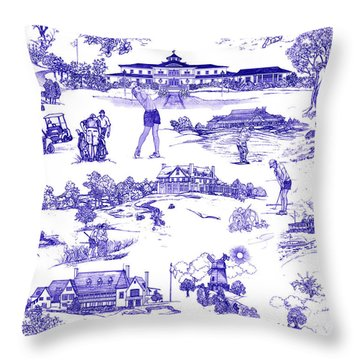 The Hamptons Historical Golf Courses Throw Pillow by Kimberly McSparran