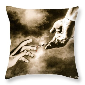 The Hand Of God Throw Pillow by Carla Carson