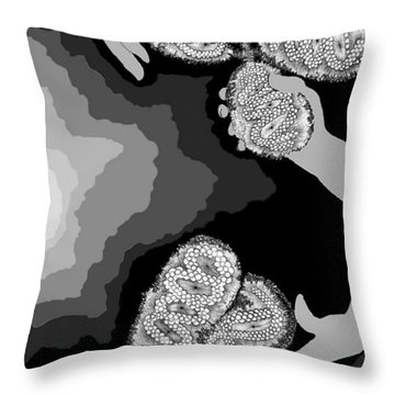 Throw Pillow featuring the digital art The Hand-off by Carol Jacobs