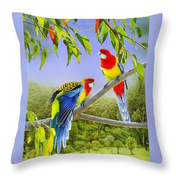 The Happy Couple - Eastern Rosellas  Throw Pillow by Frances McMahon