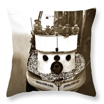 The Happy Crew Of The Fishing Boat  Geraldine- Ann Monterey California 1939 Throw Pillow