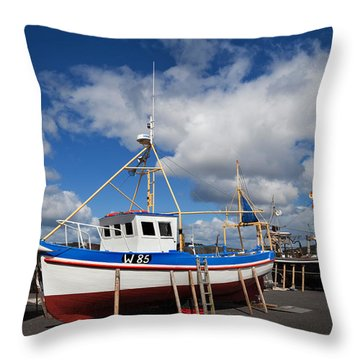 The Harbour And Fishing Boats, Passage Throw Pillow