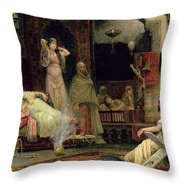 The Harem Throw Pillow by Juan Gimenez y Martin
