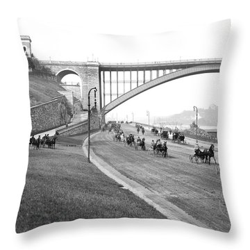 The Harlem River Speedway Throw Pillow by Detroit Publishing Company