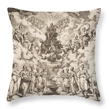 The Harmony Of The Spheres Throw Pillow by Agostino Carracci