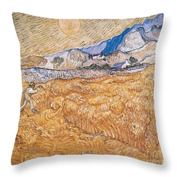The Harvester Throw Pillow by Vincent Van Gogh