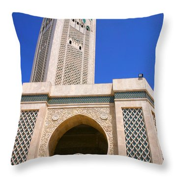 The Hassan II Mosque Grand Mosque With The Worlds Tallest 210m Minaret Sour Jdid Casablanca Morocco Throw Pillow