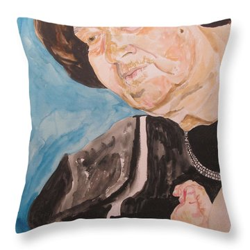The Hassidic Grandmother Throw Pillow by Esther Newman-Cohen