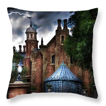 The Haunted Mansion Throw Pillow by Mark Andrew Thomas