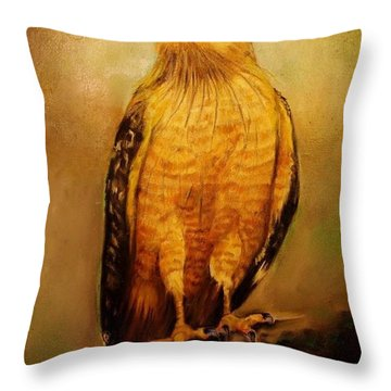 The Hawk Throw Pillow by Jean Cormier