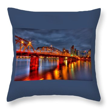 Throw Pillow featuring the photograph The Hawthorne Bridge - Pdx by Thom Zehrfeld
