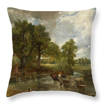 Throw Pillow featuring the painting The Hay Wain by John Constable