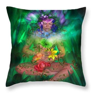 The Healing Garden Throw Pillow by Carol Cavalaris