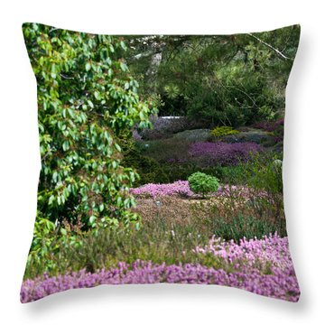 Throw Pillow featuring the photograph The Heather Path by Sabine Edrissi