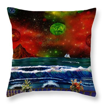 Throw Pillow featuring the painting The Heavens by Michael Rucker