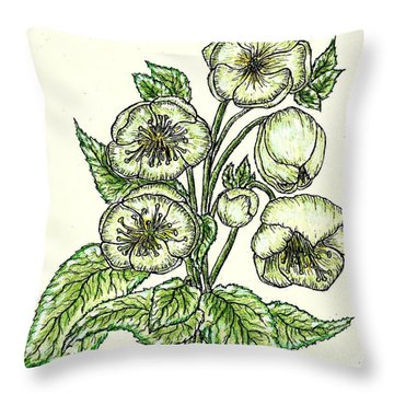 Throw Pillow featuring the drawing The Helleborous by VLee Watson