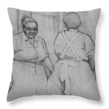 The Help - Housekeepers Of Soniat House Sketch Throw Pillow by Jani Freimann