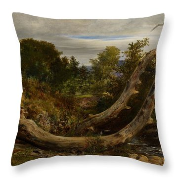 The Heron Disturbed Throw Pillow by Richard Redgrave