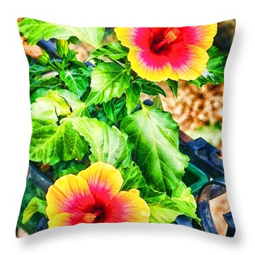 Throw Pillow featuring the photograph The Hibiscus Of Torcello by Jack Torcello