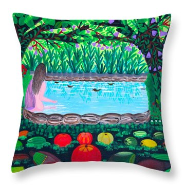 The Hidden Water Throw Pillow by Lorna Maza