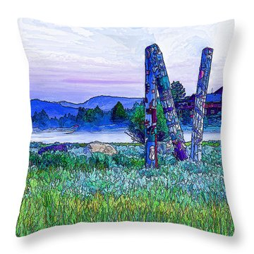 The Hirschdale Totem Throw Pillow