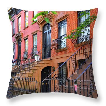 The Historic Brownstones Of Brooklyn Throw Pillow