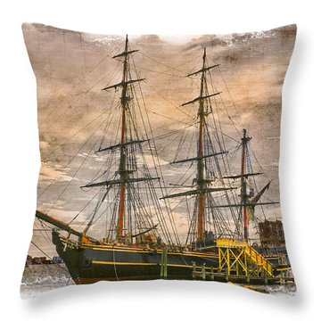 The Hms Bounty Throw Pillow by Debra and Dave Vanderlaan