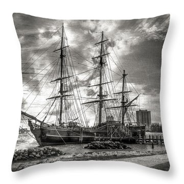 The Hms Bounty In Black And White Throw Pillow by Debra and Dave Vanderlaan