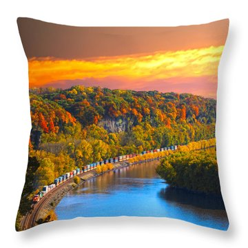 The Hobo Train Up The Mississippi Throw Pillow by Randall Branham