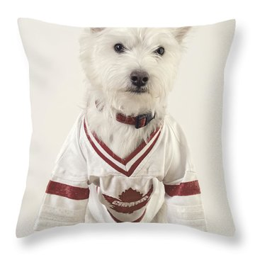 The Hockey Player Throw Pillow by Edward Fielding