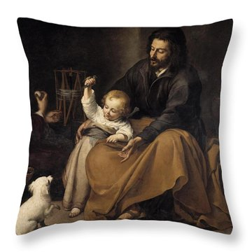 Throw Pillow featuring the painting The Holy Family With Dog by Bartolome Esteban Murillo