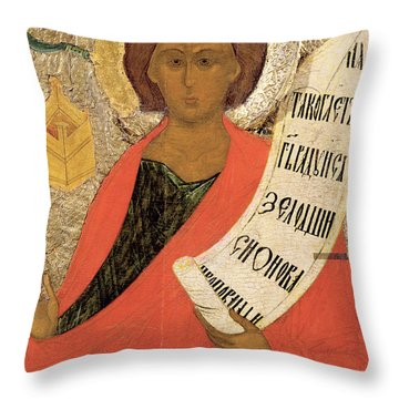 The Holy Prophet Zacharias Throw Pillow by Novgorod School