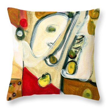 The Horn Player Throw Pillow by Stephen Lucas