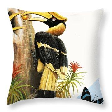 The Hornbill Throw Pillow by R.B. Davis