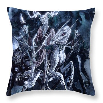 Throw Pillow featuring the painting The Horned King 2 by Curtiss Shaffer