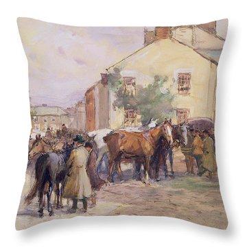 The Horse Fair  Throw Pillow by John Atkinson