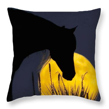 The Horse In The Moon Throw Pillow