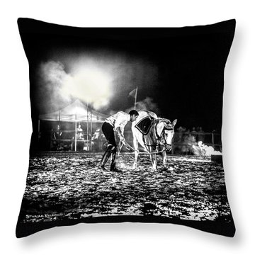 Throw Pillow featuring the photograph The Horse That Suffered  by Stwayne Keubrick