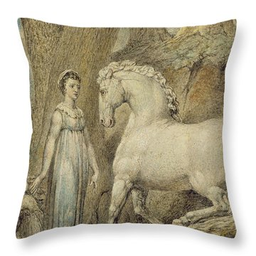 The Horse Throw Pillow by William Blake