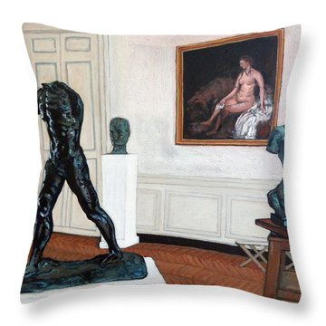 Throw Pillow featuring the painting The Hotel Biron by Tom Roderick