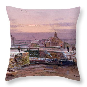 The House By The Canal Throw Pillow by Charles Brooke Branwhite