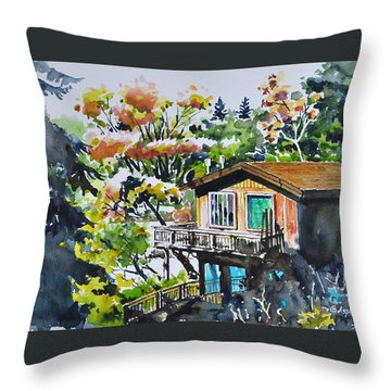The House Hiding In The Bushes Throw Pillow