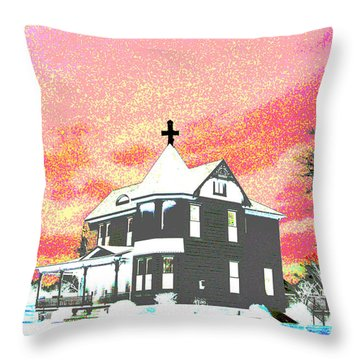 The House Of Haunted Hill Throw Pillow by Jimi Bush