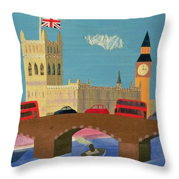The Houses Of Parliament Collage Throw Pillow